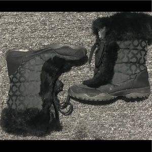 Coach Jennie rabbit fur lined lace up winter boots